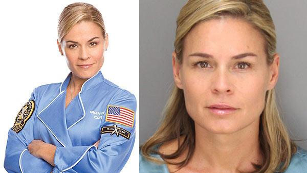 Celebrity chef Cat Cora appears in a promotional photo for The Food Networks Iron Chef America. / Catherine Ann Cora appears in a mugshot from her June 17, 2012 DUI arrest, provided by the Santa Barbara Police Department. - Provided courtesy of Food Network / Santa Barbara Police Department