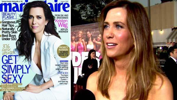 Kristen Wiig appears on the cover of Marie Claire magazines August 2012 issue. / Kristen Wiig talks to OnTheRedCarpet.com at the April 28, 2011 premiere of the movie Bridesmaids. - Provided courtesy of OTRC / Marie Claire