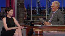 Anne Hathaway and David Letterman appear in a still from The Late Show with David Letterman, which aired on July 13, 2012. - Provided courtesy of CBS