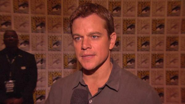 Matt Damon talks about 'Elysium' at San Diego Comic-Con on July 13, 2012.
