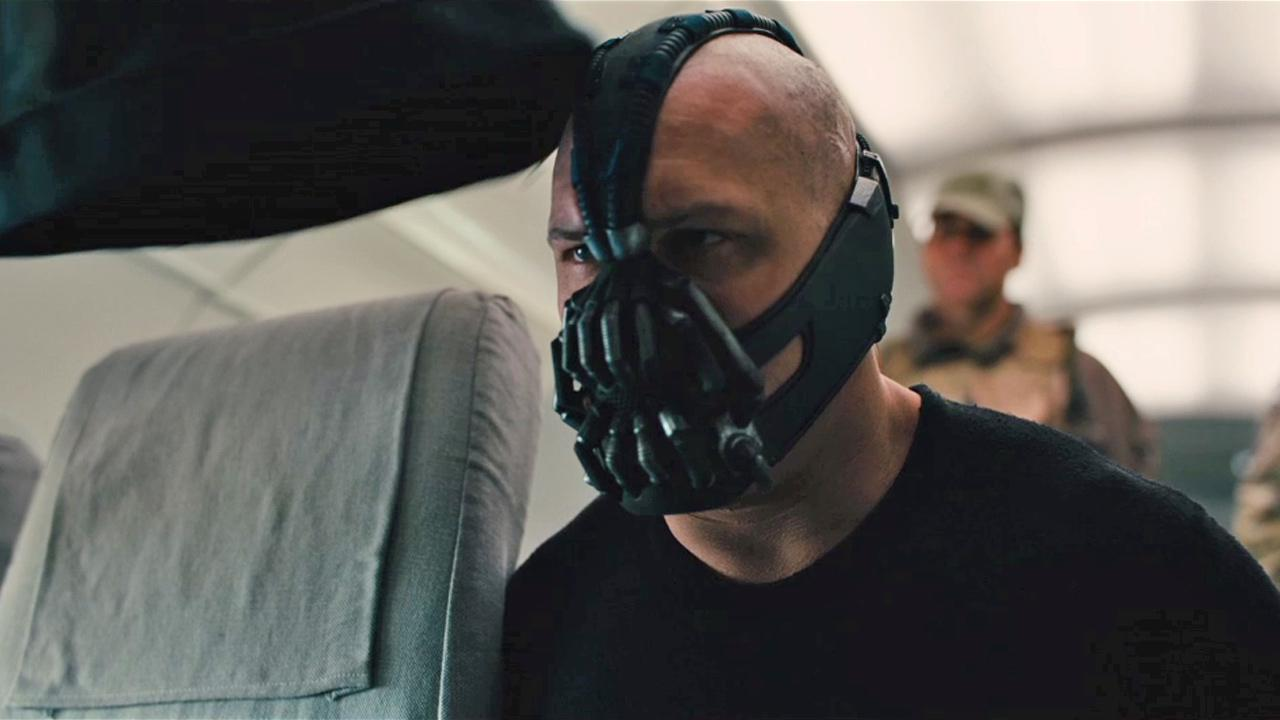 Tom Hardy appears in a still from the 2012 movie The Dark Knight Rises.