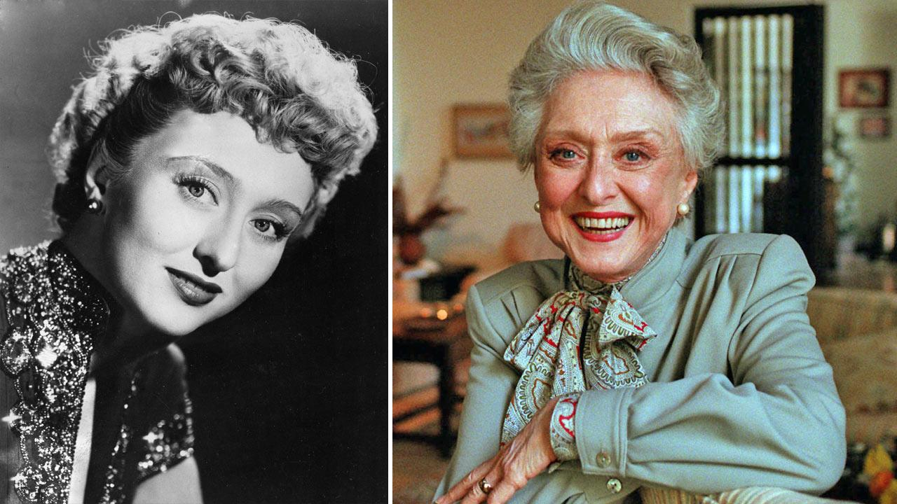 Actress Celeste Holm is seen in 1951. / In this March 12, 1997, file photo, actress Celeste Holm poses at a friends home in Santa Monica, Calif.