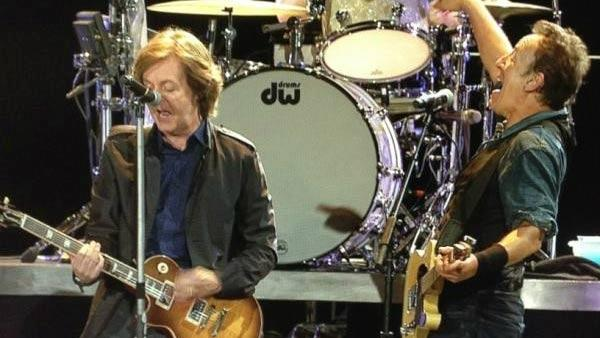 Bruce Springsteen and Paul McCartney appears at a concert in London on July 14, 2012. - Provided courtesy of twitter.com/#!/springsteen/media/slideshow?urlhttp%3A%2F%2Ftwitpic.com%2Fa7rnjy