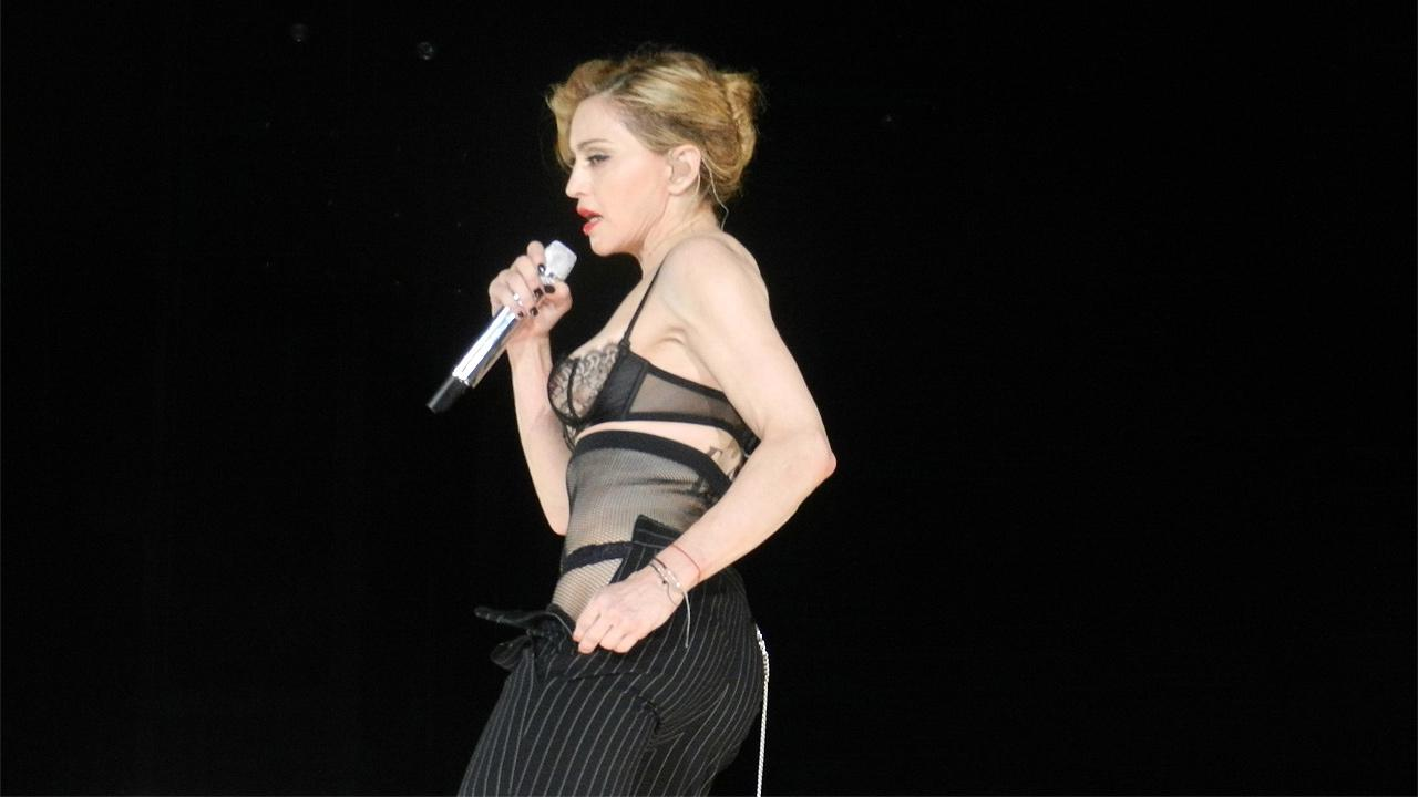Madonna performs in Paris, France on July 14, 2012.