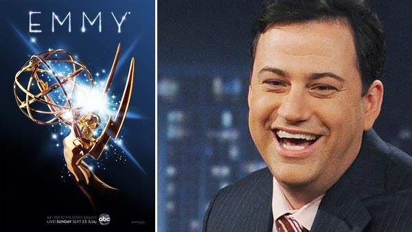The official poster for the 64th annual Primetime Emmy Awards. / Jimmy Kimmel appears in a still from a February 2011 episode of Jimmy Kimmel Live. - Provided courtesy of KABC / Academy of Television Arts and Sciences / ABC / Mitch Haddaad