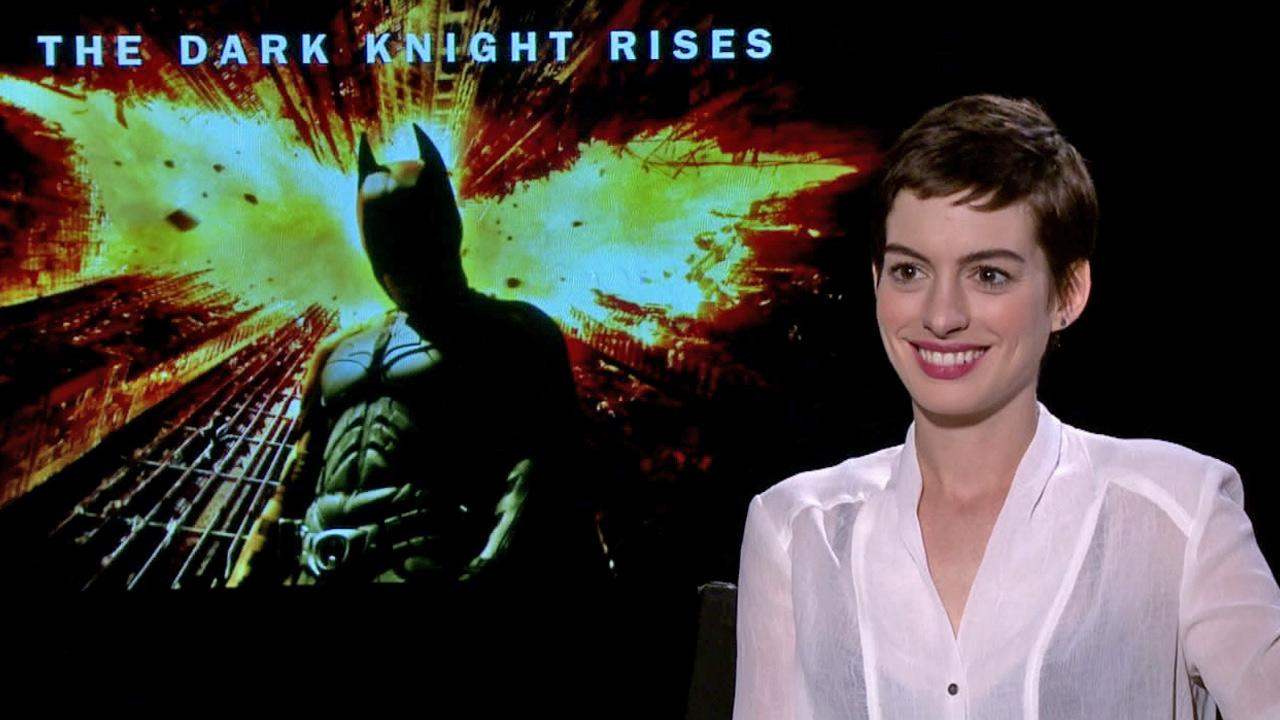 Anne Hathaway talks to OnTheRedCarpet.com about The Dark Knight Rises in a junket interview on July 9, 2012.
