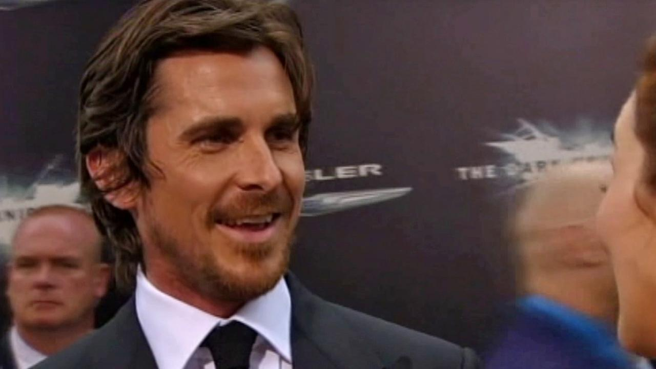 Christian Bale talks to reporters at the New York premiere of  The Dark Knight Rises on July 16, 2012.