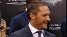 Tom Hardy talks to reporters at the New York premiere of  The Dark Knight Rises on July 16, 2012. - Provided courtesy of AP