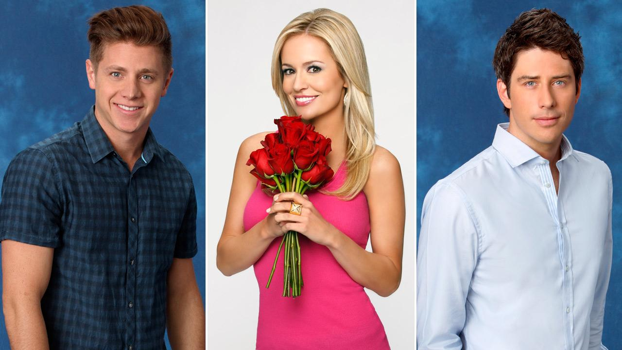 Emily Maynard, Arie and Jef appear in a promotional photos for The Bachelorette in 2012.