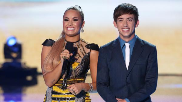 Co-hosts Demi Lovato and Kevin McHale during the TEEN CHOICE 2012, airing LIVE Sunday, July 22, 2012. - Provided courtesy of Michale Yarish/FOX