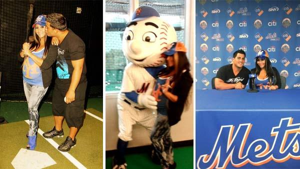 Snooki appears at a Mets game at Citi Field in New York with fiance Jionni LaValle on July 23, 2012. (left and right) / Snooki appears with Mr. Met at the New York Mets stadium, Citi Field, in New York on July 23, 2012. (center) - Provided courtesy of twitter.com/snooki/  pic.twitter.com/STmFomdf / pic.twitter.com/MJwe6vfy /  pic.twitter.com/8Kcg1tqh