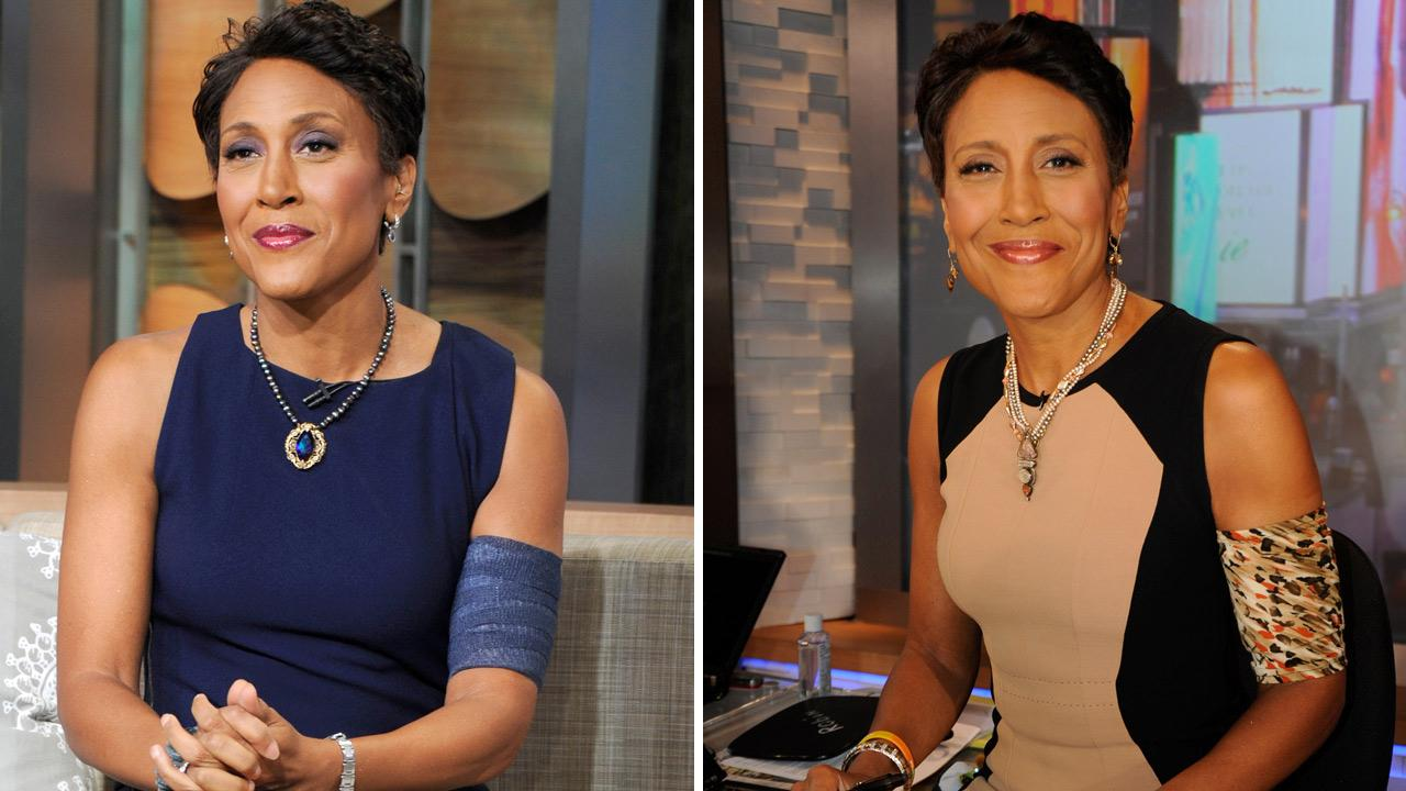 Robin Roberts appears on Good Morning America on July 18, 2012 and July 25, 2012, wearing an armband.