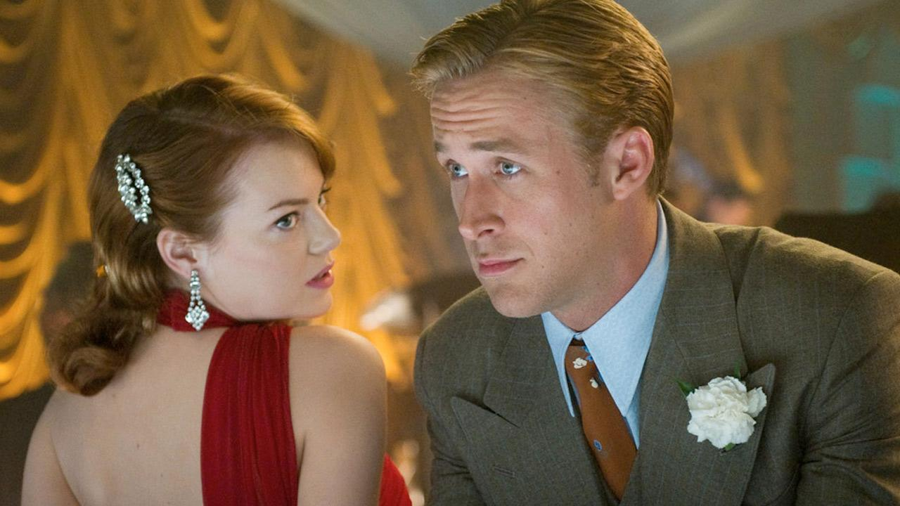 Emma Stone and Ryan Gosling appear in a still from the 2012 film, Gangster Squad.