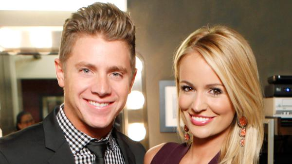 Emily Maynard and Jef Holm appears in a photo during their appearance on Jimmy Kimmel Live on July 25, 2012. - Provided courtesy of ABC / RANDY HOLMES