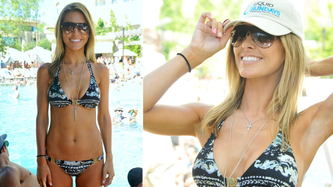 Audrina Patridge attends the Liquid Sundays pool party event at Foxwoods Resort Casino on July 22, 2012.