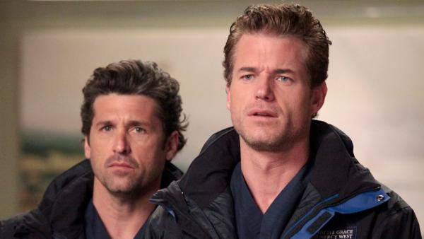 Eric Dane and Patrick Dempsey appear in a 2012 episode of Greys Anatomy. - Provided courtesy of ABC/RICHARD CARTWRIGHT