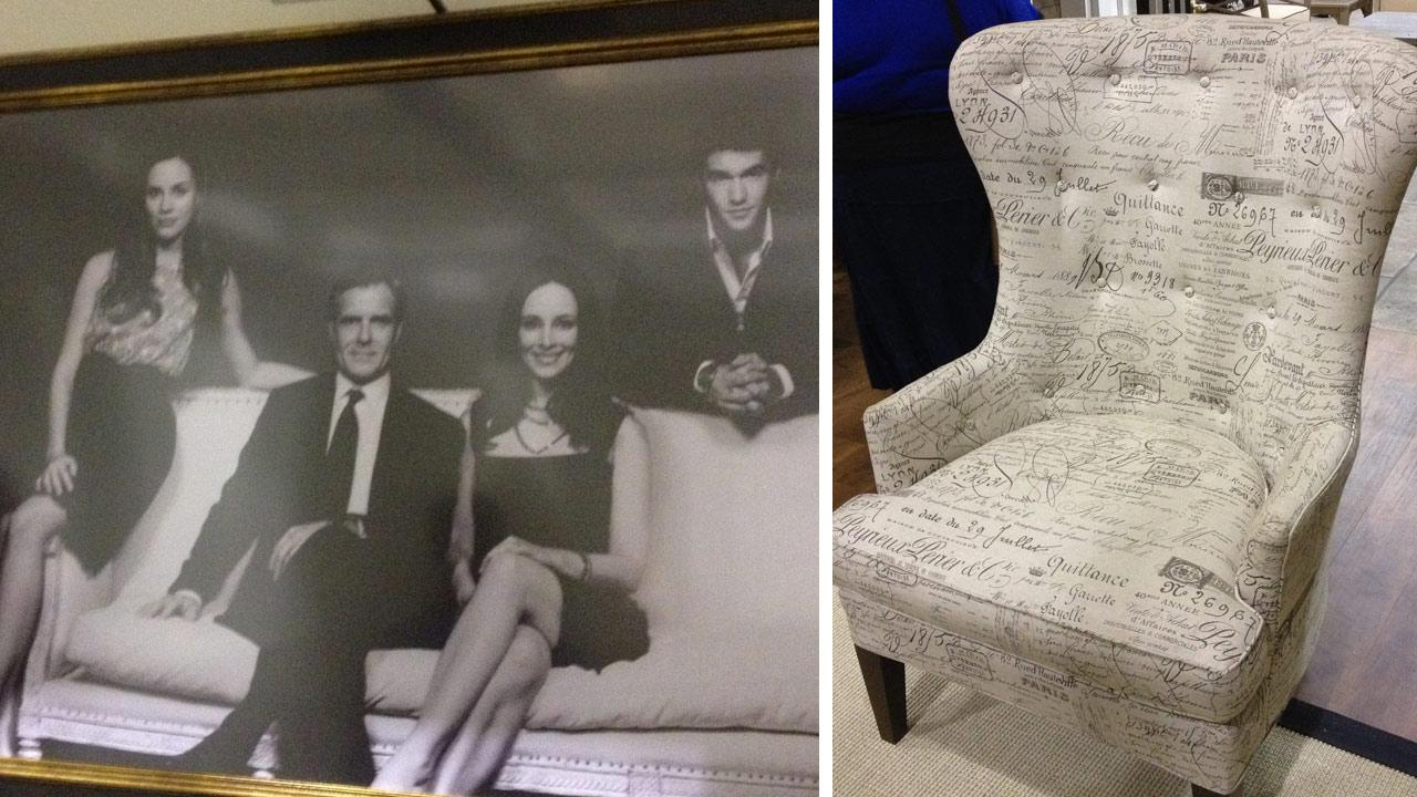 A portrait of the Grayson family, as seen on the Grayson Manor set of ABCs Revenge in Manhattan Beach, California on July 26, 2012. / Victoria Graysons favorite living room chair.
