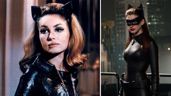 Julie Newmar appears in a still from the 1966 ABC Batman series. / Anne Hathaway appears in a still from The Dark Knight Rises. - Provided courtesy of ABC / Warner Bros. Entertainment / Ron Phillips