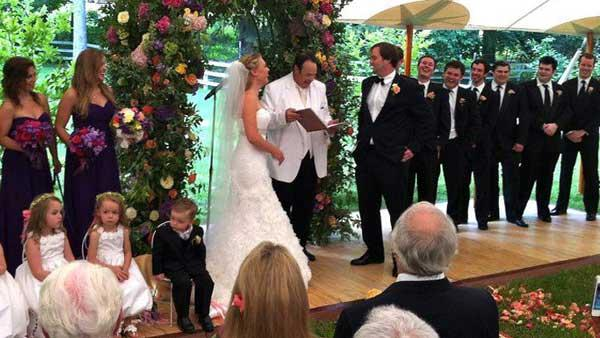 Dan Aykroyd appears at Chevy Chases daughters wedding on Thursday, July 26, 2012, in a photo posted on the actors official Facebook page. - Provided courtesy of Facebook.com/DanAykroyd