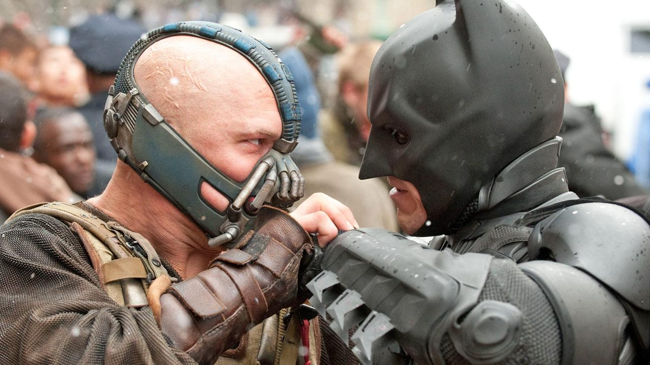 Christian Bale and Tom Hardy appear in a scene from the 2012 film The Dark Knight Rises.