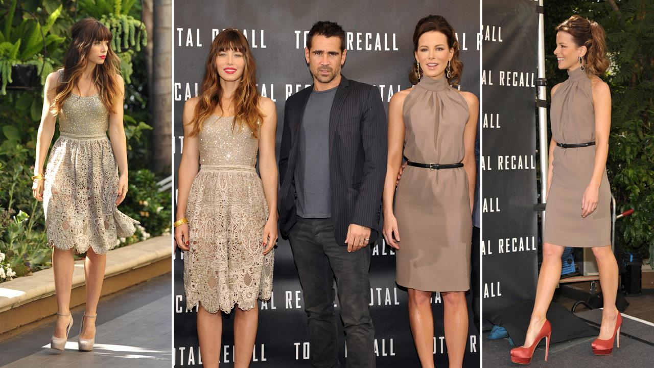 Actors Jessica Biel, left, Colin Farrell, and Kate Beckinsale attend the Total Recall photo call on Saturday, July 28, 2012, in Los Angeles.