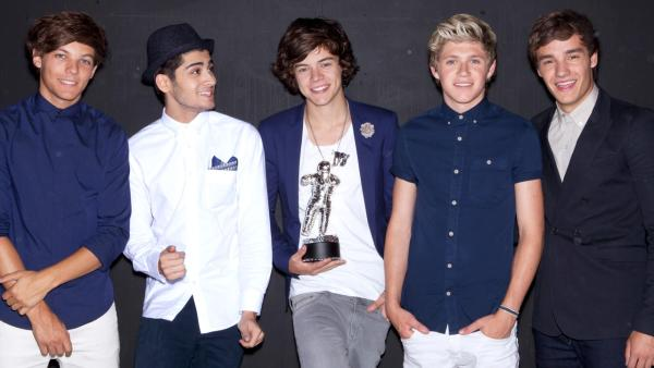 One Direction poses in a promotional photo for the 2012 MTV Video Music Awards. - Provided courtesy of MTV