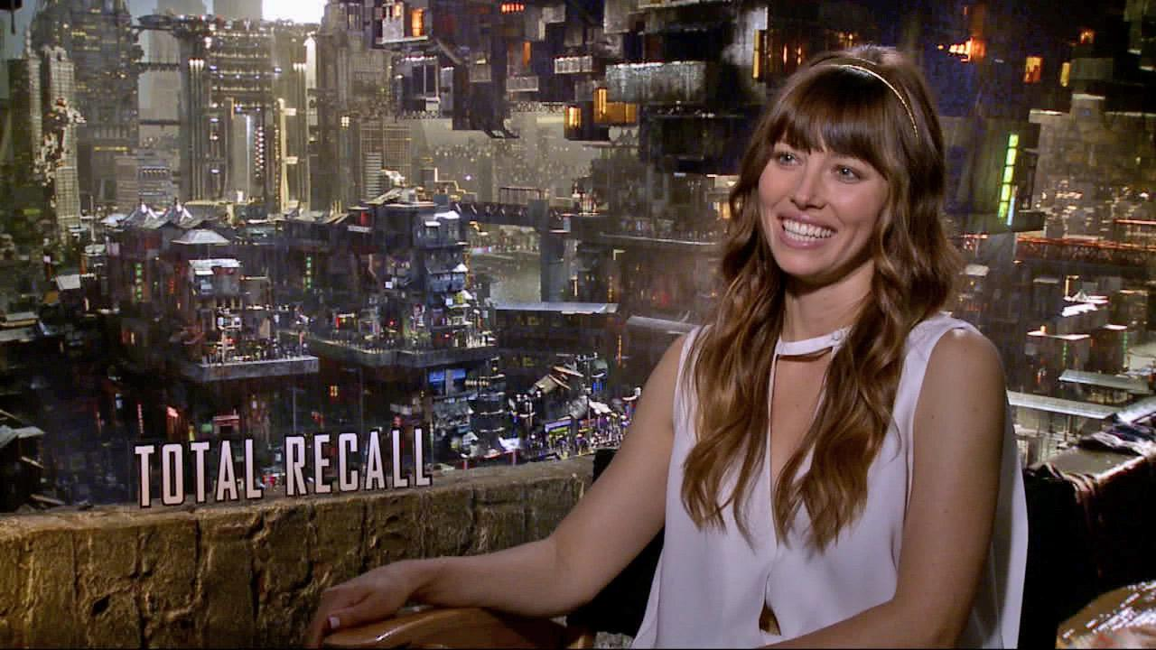 Jessica Biel talks to OnTheRedCarpet.com about Total Recall in a July 2012 press junket for the film.
