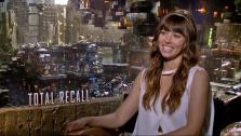 Jessica Biel talks to OnTheRedCarpet.com about Total Recall in a July 2012 press junket for the film. - Provided courtesy of OTRC