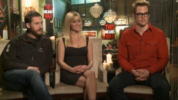 Reese Witherspoon, Chris Pine and Tom Hardy talk to OnTheRedCarpet.com at an interview for their film 'This Means War.'