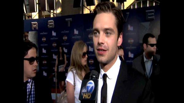 Sebastian Stan talks to OnTheRedCarpet.com at the Hollywood premiere of 'Captain America.'
