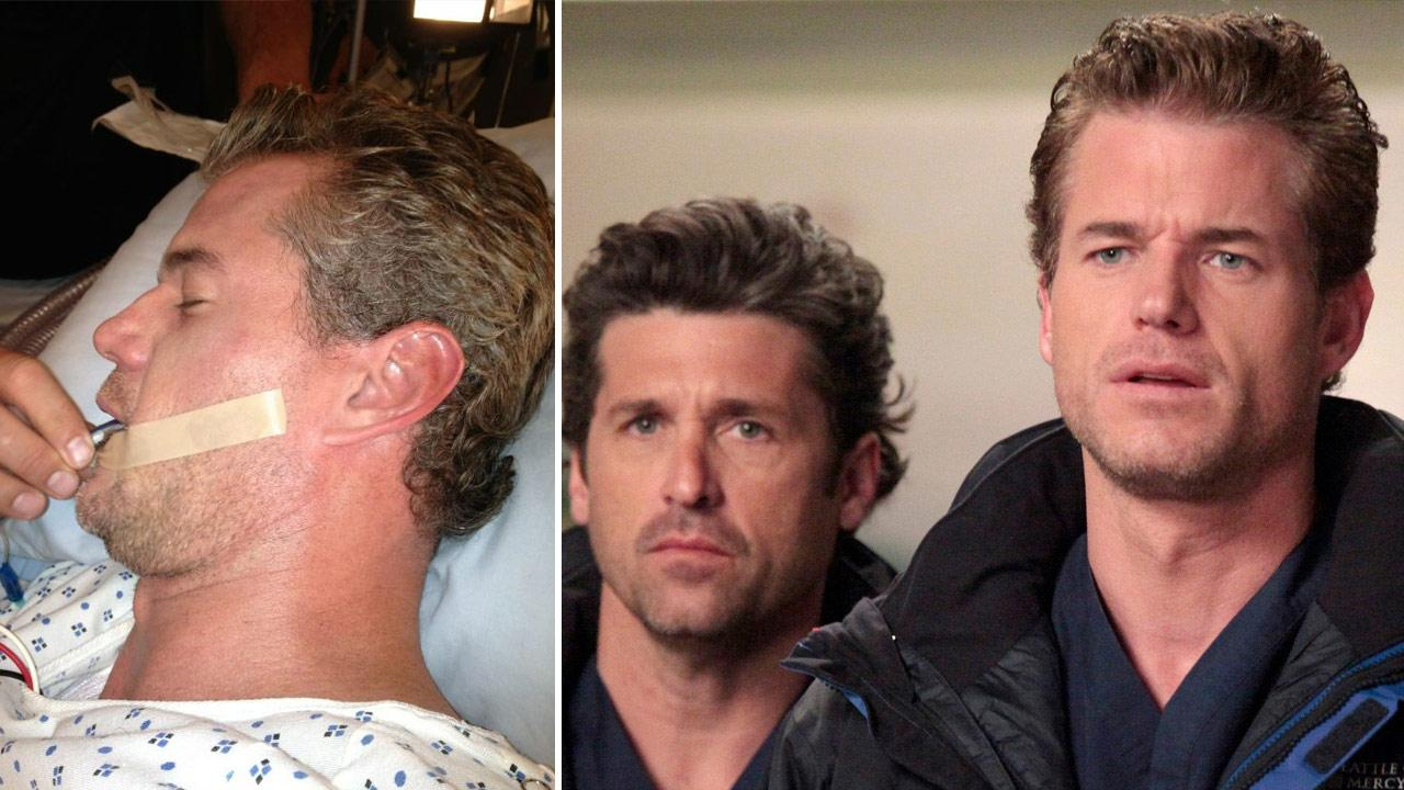 Eric Dane appears in a photo posted on Patrick Dempseys official Twitter account on July 30, 2012. / Eric Dane and Patrick Dempsey appear in a 2012 episode of Greys Anatomy.