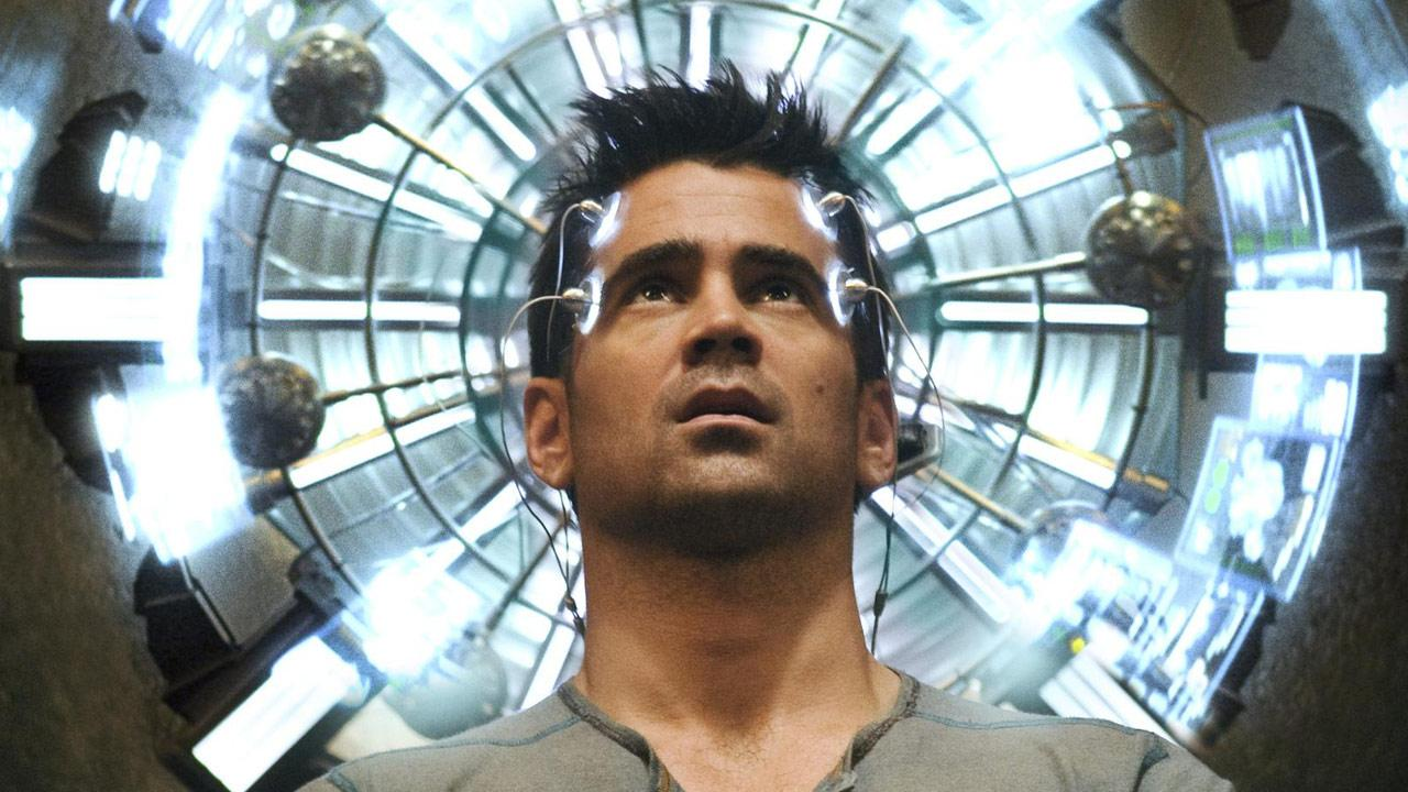 Colin Farrell appears in a still from the 2012 film, Total Recall.