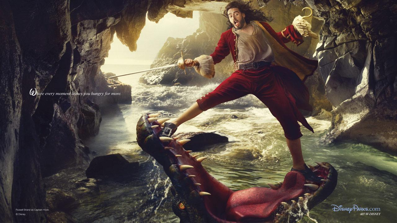 As Captain Hook, Russell Brand appears as Peter Pans nemesis narrowly escaping the jaws of the crocodile who has chased him for years in a photo by Annie Leibovitz. <span class=meta>(Disney Enterprises Inc. &#47; Annie Leibowitz)</span>