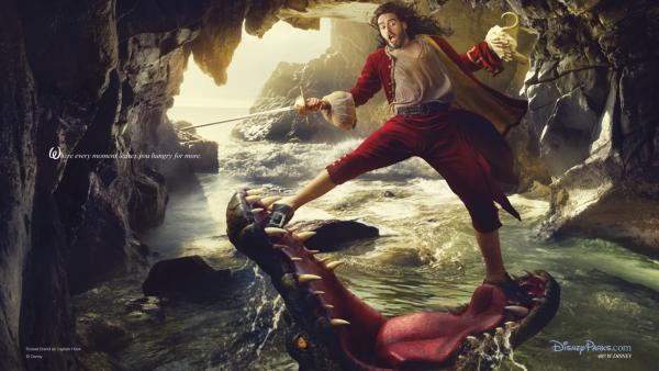As Captain Hook, Russell Brand appears as Peter Pan's nemesis narrowly escaping the jaws of the crocodile who has chased him for years in a photo by Annie Leibovitz.