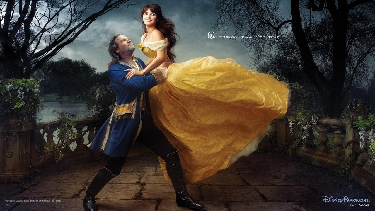 Penelope Cruz and Jeff Bridges appear as Belle and the transformed prince, recalling the final scene from Beauty and the Beast.Disney Enterprises Inc. / Annie Leibowitz