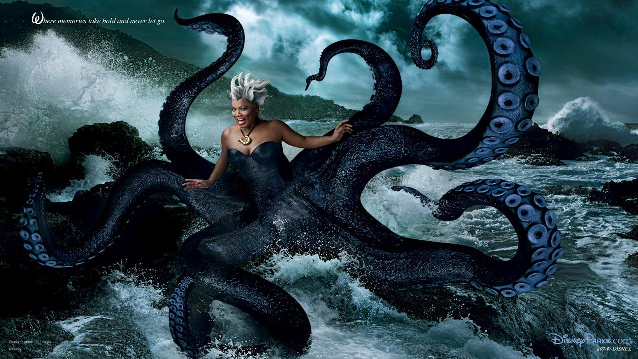 Coming ashore as Ursula from The Little Mermaid is none other than Queen Latifah.Disney Enterprises Inc. / Annie Leibowitz
