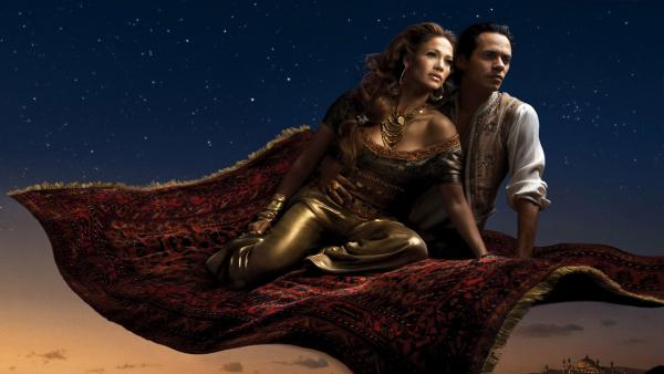 'Where A Whole New World Awaits' with Mark Anthony as Aladdin and Jennifer Lopez as Princess Jasmine.