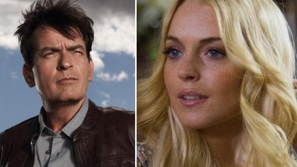 Charlie Sheen appears in a promotional photo for his FX series, Anger Management. / Lindsay Lohan appears in a still from the 2010 film, Machete. - Provided courtesy of FX / Greg Gayne / Twentieth Century Fox Film