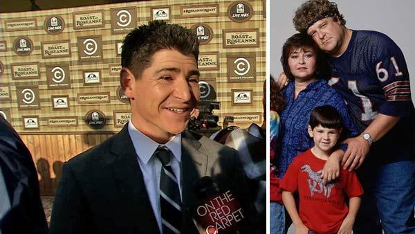 Michael Fishman talks to OnTheRedCarpet.com before a taping of 'The Comedy Central Roast of Roseanne' on Aug. 4, 2012. / Michael Fishman, Roseanne Barr and John Goodman appear in a promotional photo for the TV show 'Roseanne.'