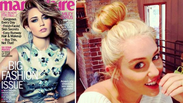 Miley Cyrus appears on the cover of Marie Claire magazines September 2012 issue. / Miley Cyrus appears in a photo posted on her Twitter page on Aug. 4, 2012. - Provided courtesy of Marie Claire / twitter.com/mileycyrus / pic.twitter.com/fpPknkPl