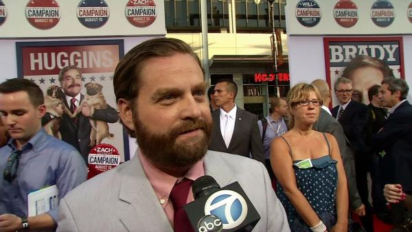 Zach Galifianakis talks to OnTheRedCarpet.com at the Los Angeles premiere of the Will Ferrell comedy movie 'The Campaign' on Aug. 2, 2012.