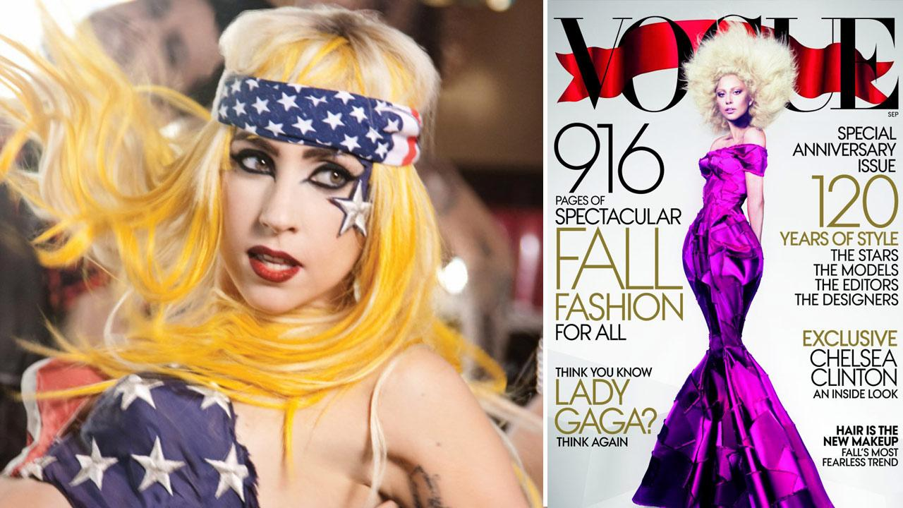 Lady Gaga appears in the 2011 video for Telephone. / Lady Gaga appears on the September 2012 issue of Vogue.