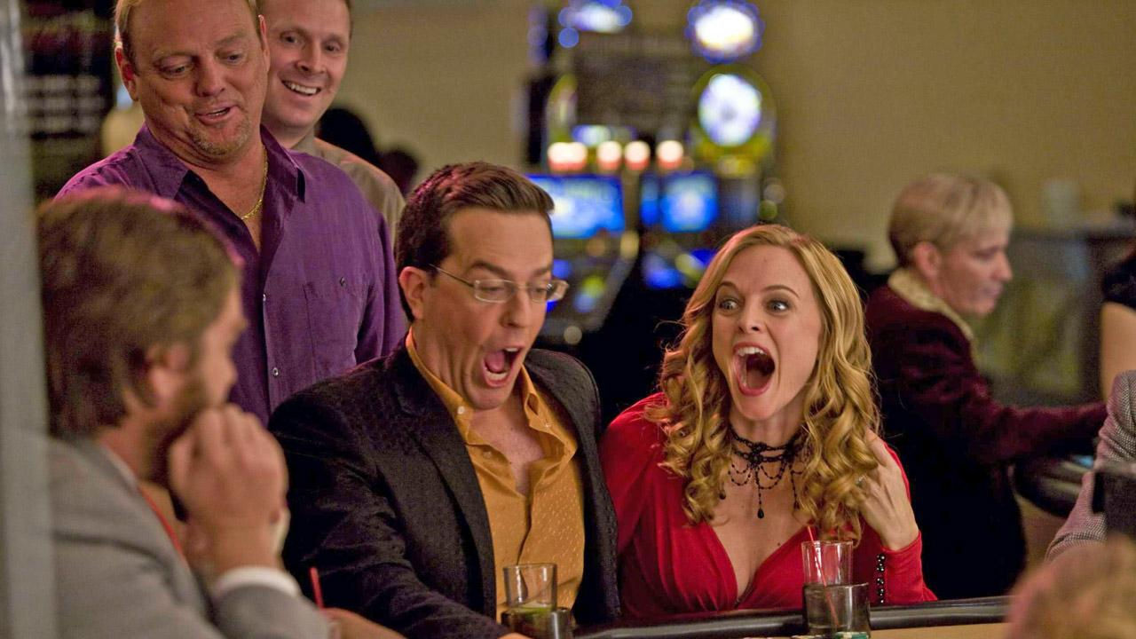 Heather Graham and Ed Helms appear in a still from their 2009 film, The Hangover.