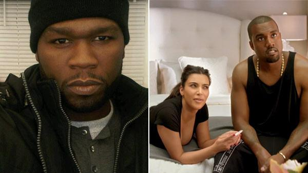 50 Cent appears in a photo from his official Twitter account posted in late 2010. / Kim Kardashian and Kanye West appear in stills from a video promoting the 2012 MTV VMAs. - Provided courtesy of Twitter.com/50cent / MTV