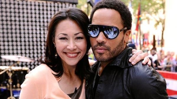 Lenny Kravitz and Ann Curry pose together on an episode of the 'Today' show, which aired on September 2, 2011.