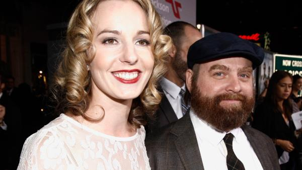 Cast member Zach Galifianakis, right, and Quinn Lundberg arrive at the premiere of Due Date in Los Angeles on Thursday, Oct. 28, 2010. - Provided courtesy of AP / Matt Sayles
