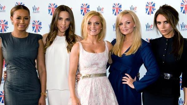 Victoria Beckham, Melanie Brown, Emma Bunton, Melanie Chisholm and Geri Halliwell appear at the Viva Forever announcement on June 26, 2012. - Provided courtesy of twitter.com/victoriabeckham/status/217629372255965184/photo/1