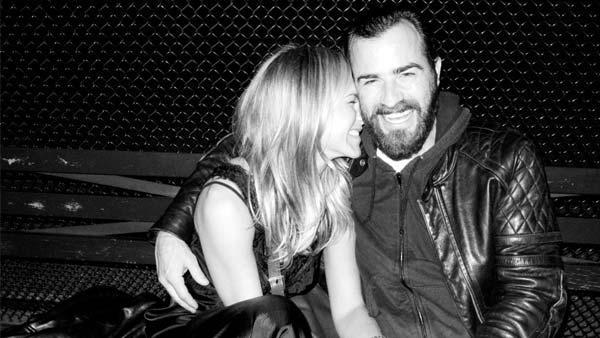 Jennifer Aniston and Justin Theroux appear in a photo posted on Terry Richardson's Tumblr page, TerrysDiary.com in June 2011.