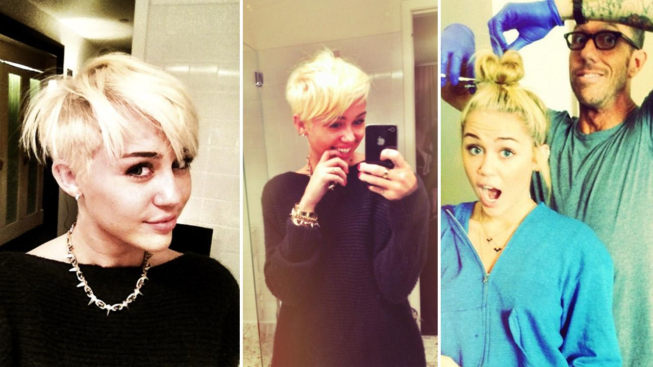 Miley Cyrus showcases her new half buzzed haircut in photos posted on her Twitter page (left, middle) and her hairdresser Chris McMillans page (left) on Aug. 12, 2012.