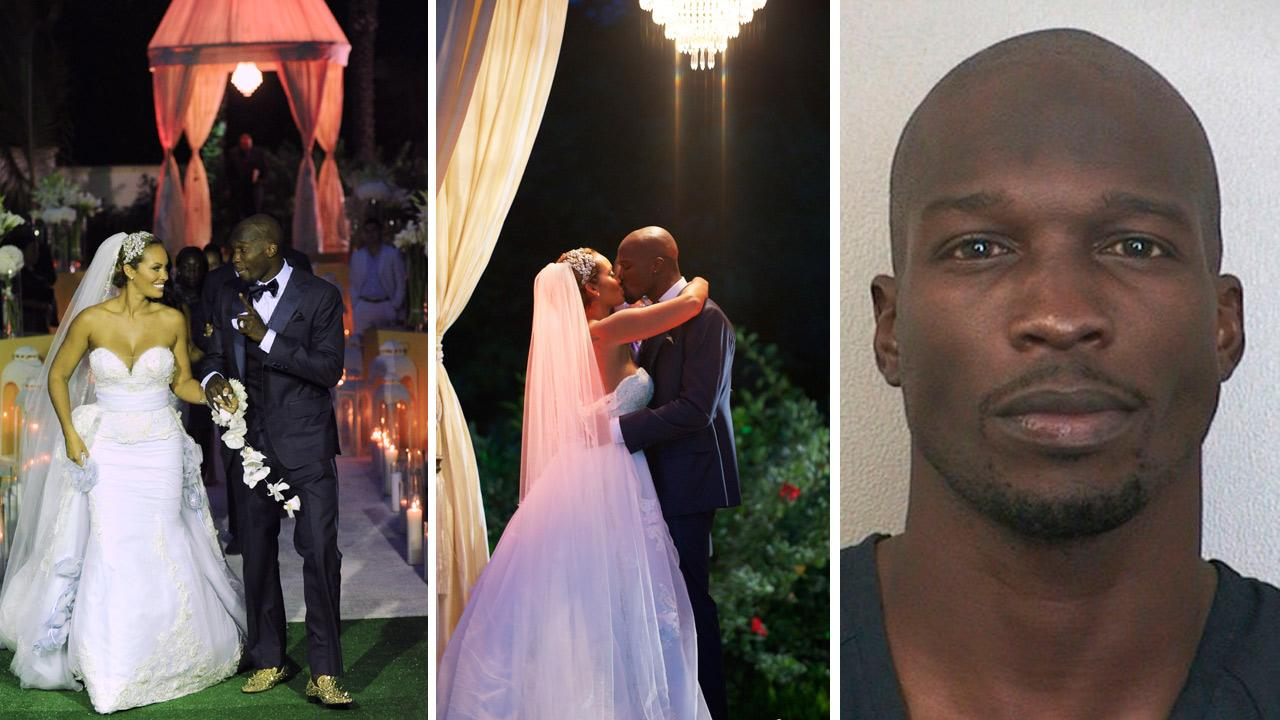Evelyn Lozada and Chad Ochocinco Johnson appear at their July 4, 2012 wedding, as seen in promotional photos for their VH1 reality show, Ev and Ocho. / Chad Ochocinco Johnson appears in a booking photo taken after his Aug. 11, 2012 arrest.